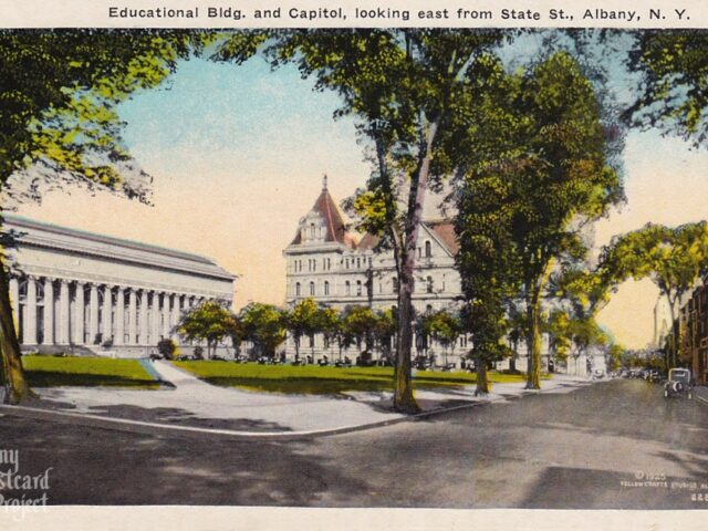 Educational Bldg. and Capitol, looking east from State St.