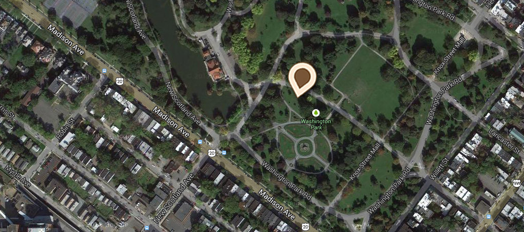 Map King's Fountain and Flower Beds, Washington Park A