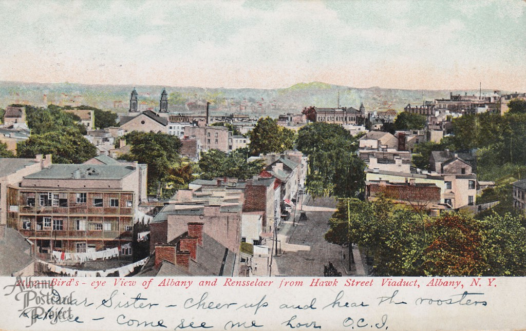 Bird's-eye View of Albany and Rensselaer from Hawk Street Viaduct