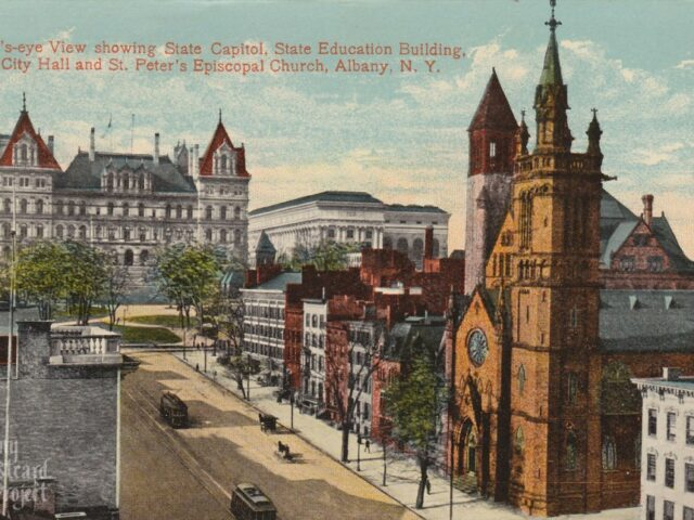 Bird's-eye View showing State Capitol, State Education Building, City Hall and St. Peter's Episcopal Church