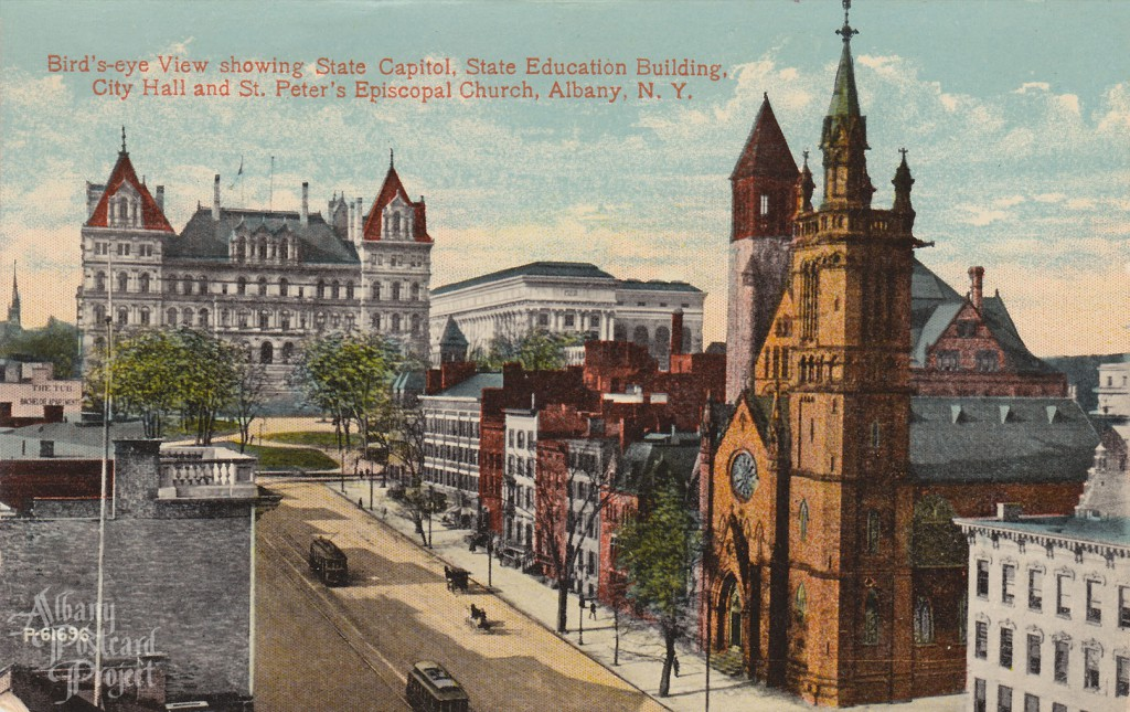 Bird's-eye View showing State Capitol, State Education Building, City Hall and St Peter's Episcopal Church