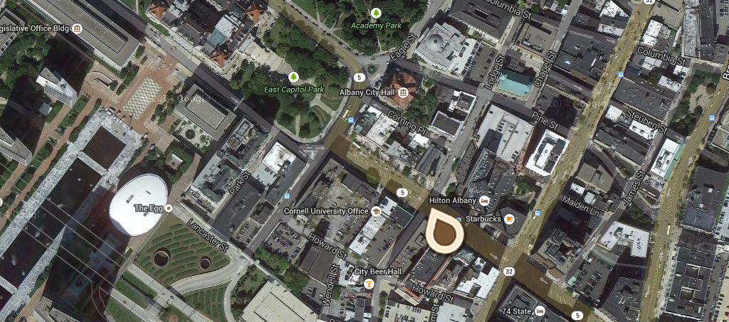 Map Bird's-eye View showing State Capitol, State Education Building, City Hall and St Peter's Episcopal Church