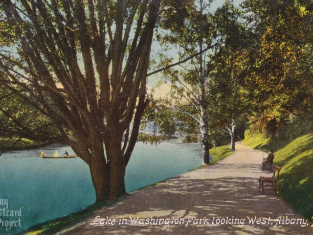 Lake in Washington Park looking West