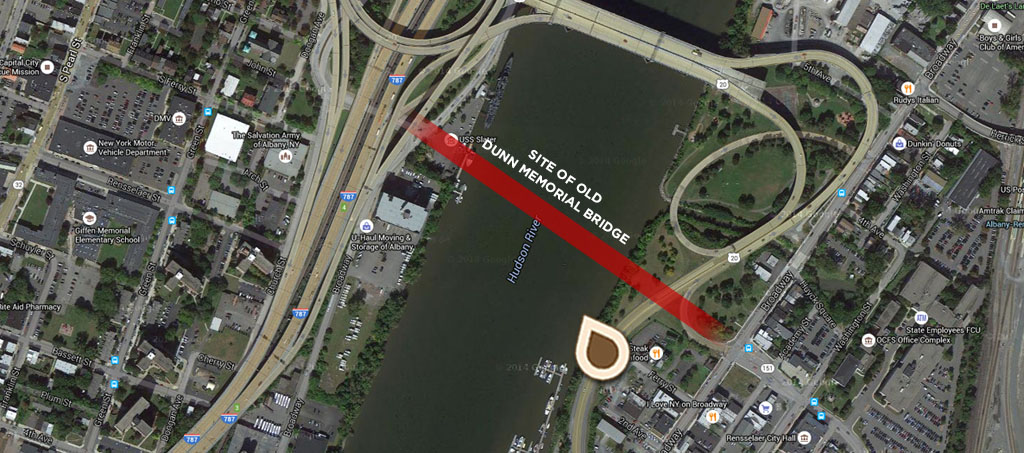 Map The New Dunn Memorial Bridge Connecting Albany and Rensselaer