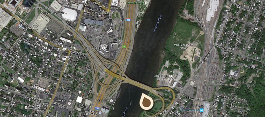 Map River Front and Birdseye view of Albany