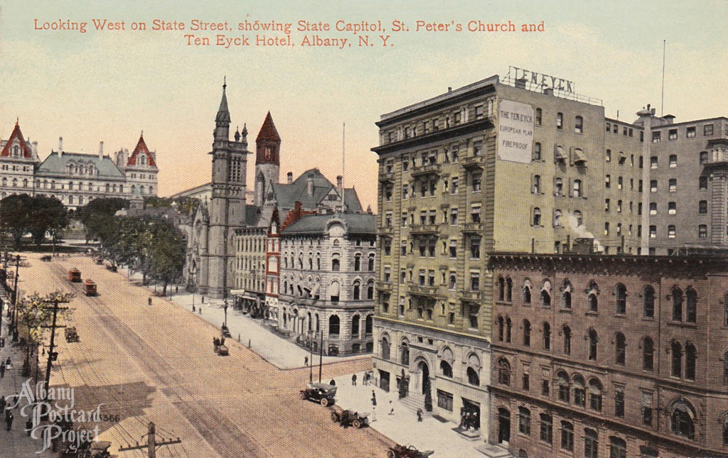 Looking West on State Street showing Capitol, St Peters, Ten Eyck Hotel