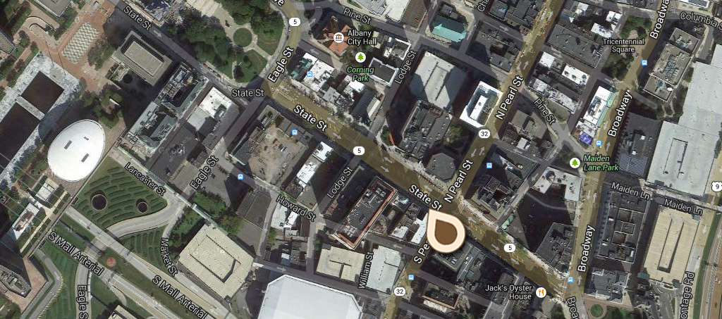 Map Looking West on State Street, showing State Capitol, St Peters Church and Ten Eyck Hotel