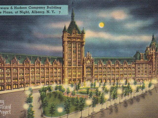 Delaware & Hudson Company Building at the Plaza, at Night
