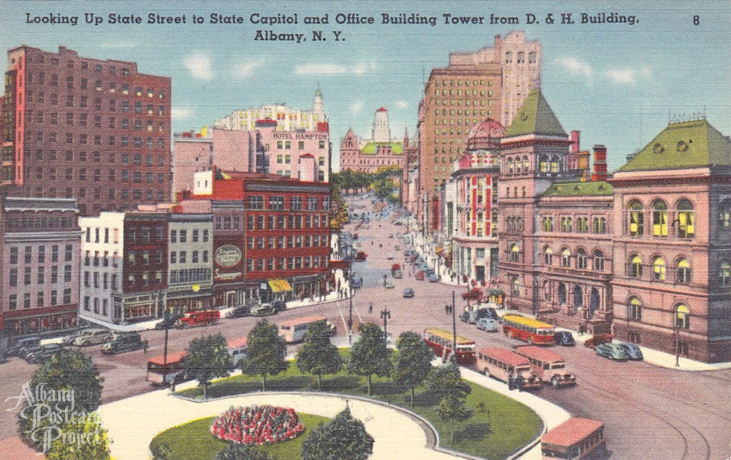 Looking Up State Street to State Capitol and Office Building Tower from D.&H. Building
