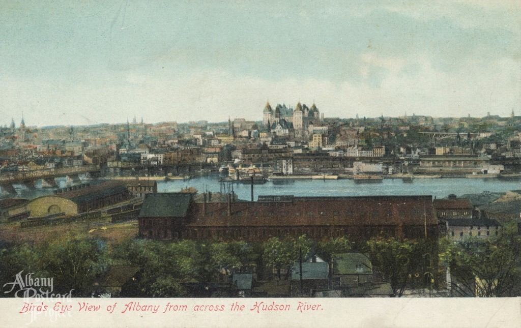Birds Eye View of Albany from across the Hudson River