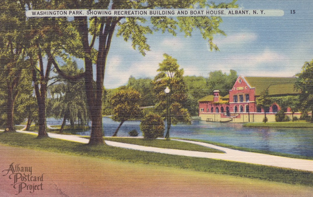 Washington Park, Showing Recreation Building and Boat House
