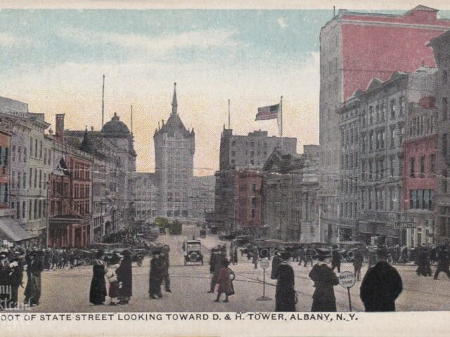 Foot of State Street Looking Toward D&H Tower