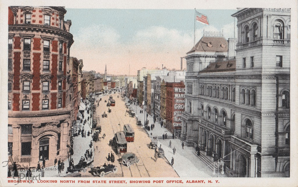 Broadway, Looking North From State Street, Showing Post Office