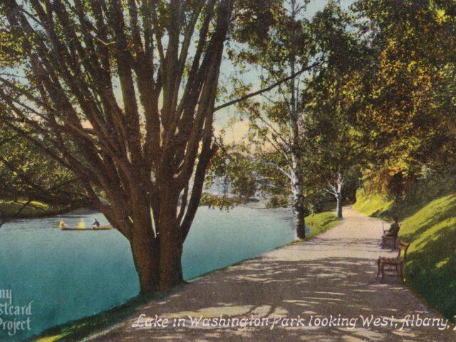 Lake in Washington Park looking West