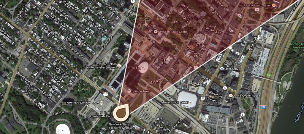 Map Birds Eye View of Albany