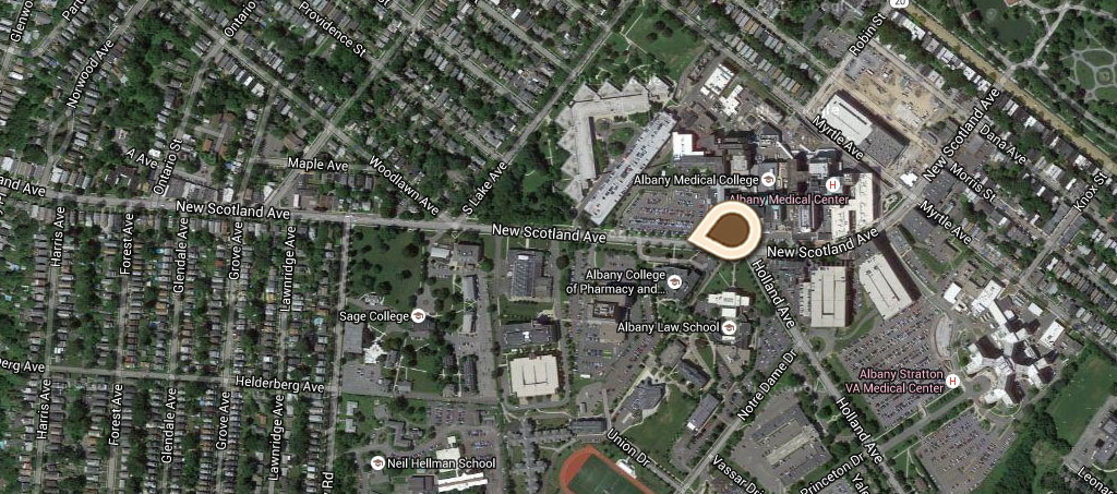 Map Albany College of Pharmacy, NY State Dept of Health Laboratory and Troop B Armory