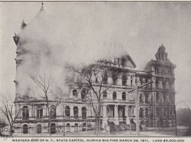 Western End of NY State Capitol, During Big Fire March 29, 1911, Loss $5,000,000
